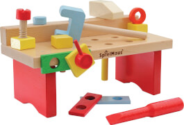 SpielMaus Holz Werkbank 15-teilig, 29 x 14 x 13 cm, Made in Germany