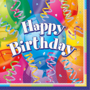 Happy Birthday Brilliant Servietten 33x33cm 16 Stück